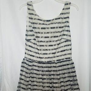 City Studio Lace Cream White/Black Striped Dress